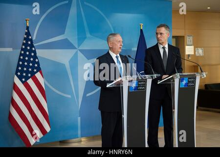 Brussels, Belgium. 15th Feb, 2017. U.S. Secretary of Defense Jim Mattis during a joint press conference with NATO - Stock Photo