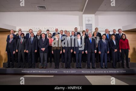Brussels, Belgium. 15th Feb, 2017. U.S. Secretary of Defense Jim Mattis poses for the family photo with other Defense - Stock Photo