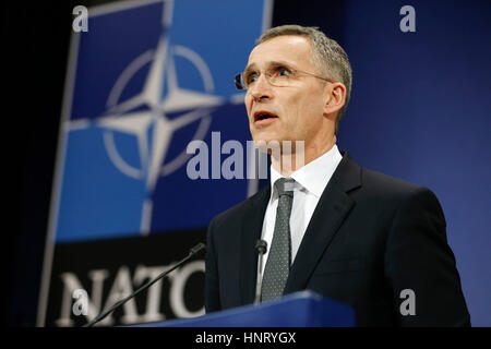 Brussels, Belgium. 15th Feb, 2017. NATO Secretary General Jens Stoltenberg addresses a press conference during a - Stock Photo
