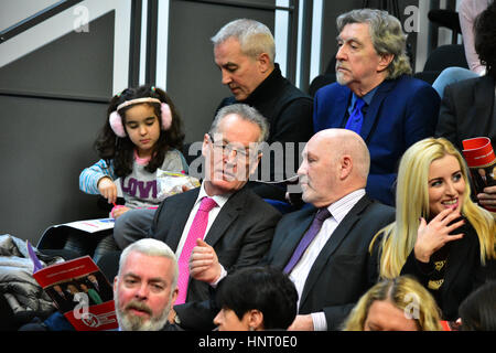 Armagh City, UK. 15th February 2017. Sinn Féins Gerry Kelly and Alex Maskey during the Party launch Manifesto in - Stock Photo