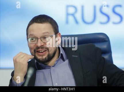 Moscow, Russia. 16th Feb, 2017. Political scientist Nikolai SIlayev during a round table at a round table at the - Stock Photo