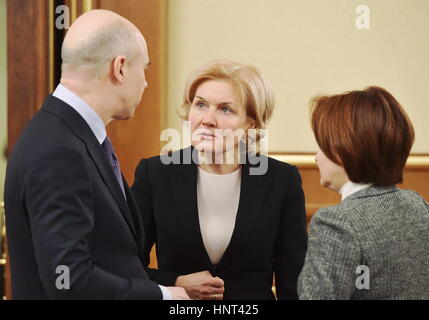 Moscow, Russia. 16th Feb, 2017. Russia's Finance Minister Anton Siluanov, Russia's Deputy Prime Minister Olga Golodets, - Stock Photo