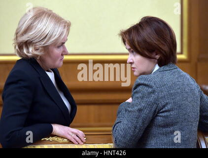 Moscow, Russia. 16th Feb, 2017. Russia's Deputy Prime Minister Olga Golodets (L) and Russia's Central Bank Governor - Stock Photo