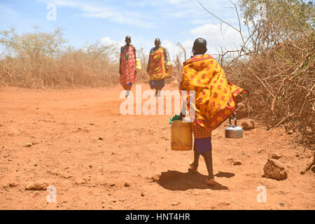 Kajiado, Kenya. 16th February, 2017. A Maasai woman carries water at Olomayiana West, Kajiado County, Kenya, Feb. - Stock Photo