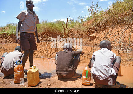 Kajiado, Kenya. 16th February, 2017. Students from Olomayiana West Primary School fetch water at Olomayiana West, - Stock Photo