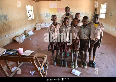 Kajiado, Kenya. 16th February, 2017. Students from Grade 3 pose for group photos at Olomayiana West Primary School, - Stock Photo