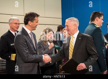 Brussels, Belgium. 16th Feb, 2017. U.S. Secretary of Defense Jim Mattis greets Montenegro Minister of Defense Predrag - Stock Photo