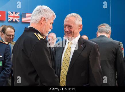 Brussels, Belgium. 16th Feb, 2017. U.S. Secretary of Defense Jim Mattis greets Czech Gen. Petr Pavel, chairman of - Stock Photo