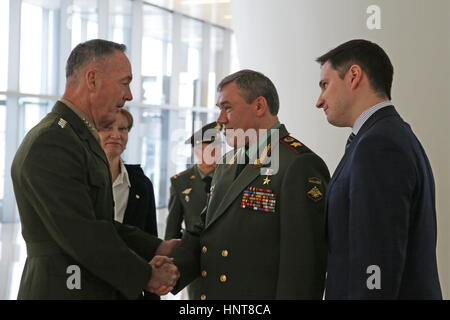 Baku, Azerbaijan. 16th Feb, 2017. Army General Valery Gerasimov (C), chief of the General Staff of the Armed Forces - Stock Photo
