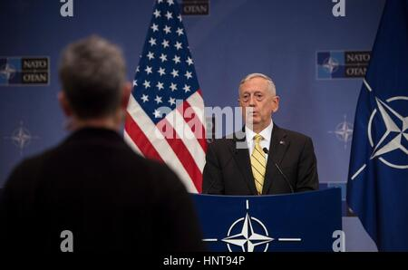 Brussels, Belgium. 16th February 2017. U.S. Secretary of Defense Jim Mattis answers a question during a press conference - Stock Photo