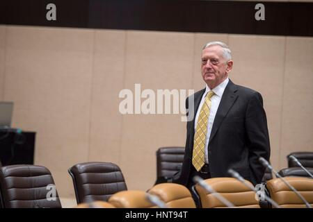 Brussels, Belgium. 16th February 2017. U.S. Secretary of Defense Jim Mattis arrives for a meeting of the Global - Stock Photo