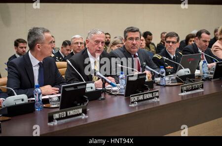 Brussels, Belgium. 16th February 2017. U.S. Secretary of Defense Jim Mattis speaks during a Global Coalition to - Stock Photo