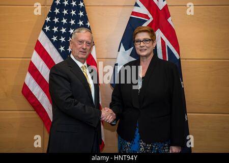 Brussels, Belgium. 16th February 2017. U.S. Secretary of Defense Jim Mattis greets Australian Minister of Defense - Stock Photo