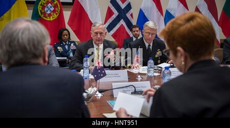 Brussels, Belgium. 16th February 2017. U.S. Secretary of Defense Jim Mattis during a bilateral meeting with Australian - Stock Photo
