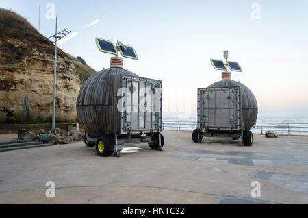 'Roker Pods' (Moveable Multi-use Containers Using Renewable Energy) located at Holey Rock, Roker, Sunderland - Stock Photo