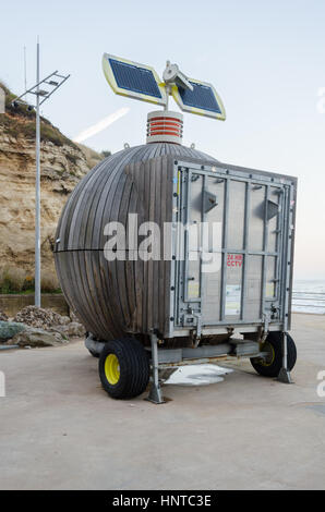 'Roker Pod' (Moveable Multi-use Containers Using Renewable Energy) located at Holey Rock, Roker, Sunderland - Stock Photo