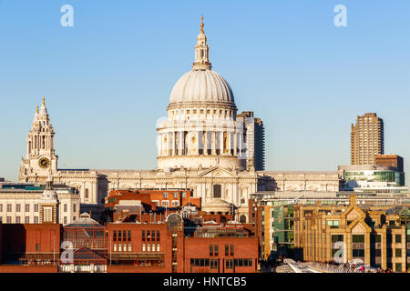 St Paul's Cathedral in London against a cloudless blue sky - Stock Photo