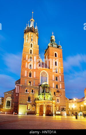 St Mary's Church on the Main Square, Cracow, Poland - Stock Photo