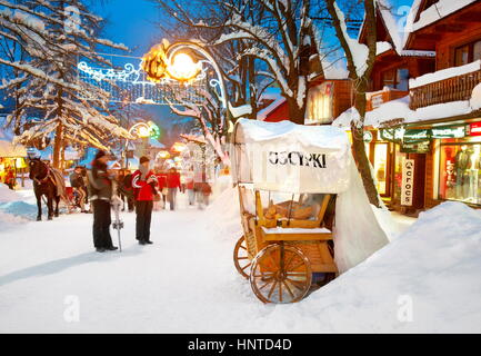 Winter city scene in Zakopane Village, Poland - Stock Photo