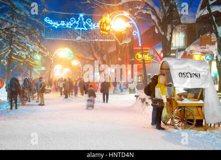 Winter snow city at Christmas Time in Zakopane, Poland - Stock Photo