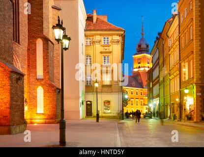 Warsaw Old Town at evening time, Poland, Europe - Stock Photo