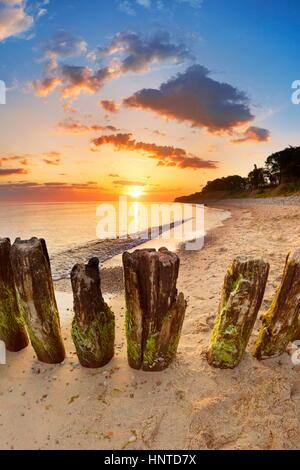 Sunrise landscape at Baltic beach, Wolin Island, Poland - Stock Photo