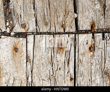 old weathered floor boards from a mining operation - Stock Photo