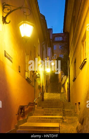 Warsaw Old Town at evening time, Poland, Unesco - Stock Photo
