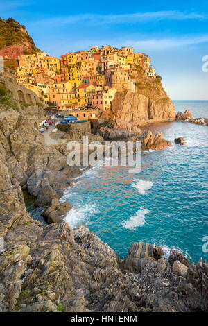 Manarola at sunset time, Cinque Terre, Liguria, Italy - Stock Photo