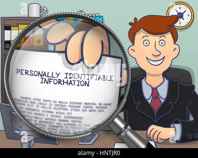 Personally Identifiable Information through Magnifier. - Stock Photo