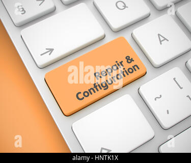 Repair And Configuration - Inscription on Orange Keyboard Keypad - Stock Photo