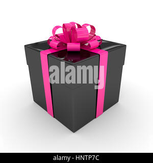 3d rendering of black gift box with pink ribbon isolated over white background - Stock Photo