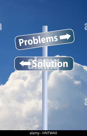Problems vs solution ahead road sign concept, against white stormy cloud and blue sky background - Stock Photo