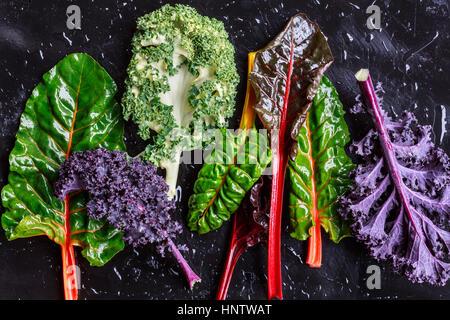 Purple Kale and swiss chard - Stock Photo