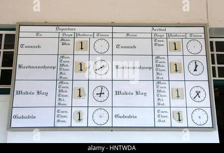 Timetable at Windhoek Railway Station in Namibia - Stock Photo