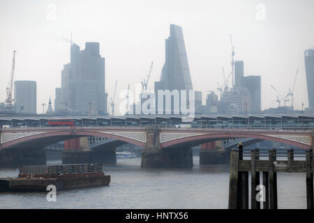 Tower 42, the Cheesegrater, iconic skyscrapers on the City of London financial district skyline and Blackfriars - Stock Photo