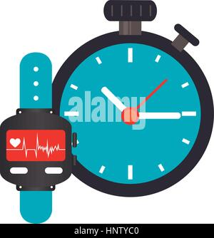 colorful watch with screen Heartbeat monitoring and Stopwatch vector illustration - Stock Photo