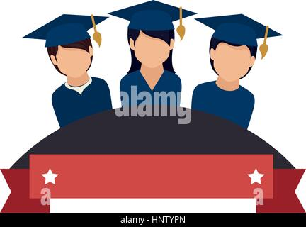 colorful emblem with ribbon and students graduates vector illustration - Stock Photo