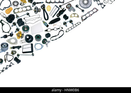 Spare parts car on the white background Stock Photo