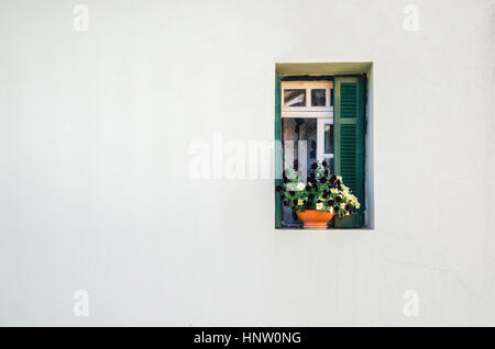 View of the white stone house and the small green window with the curtains and small pot of colorful flowers. Minimalism - Stock Photo