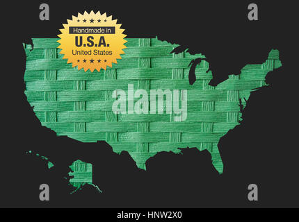 Handmade in the USA - quality badge map illustration - Stock Photo