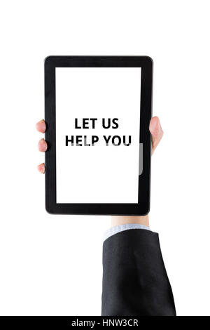 hand of businessman holding digital tablet with word let us help you isolated on white background with clipping - Stock Photo