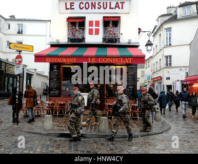 French Troops on patrol around the streets of Montmartre, Paris. - Stock Photo
