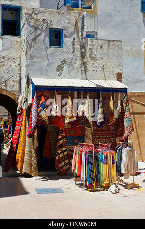 Traditional Berber shops in the medina of  Essaouira, Morocco - Stock Photo