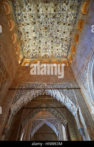 Arabesque Moorish stalactite or morcabe ceilings,  Palacios Nazaries  of the Alhambra. Granada, Andalusia, Spain. - Stock Photo