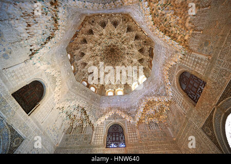 Arabesque Moorish stalactite or morcabe ceiling in the Hall of the Two Sisters, Palacios Nazaries Alhambra. Granada, - Stock Photo