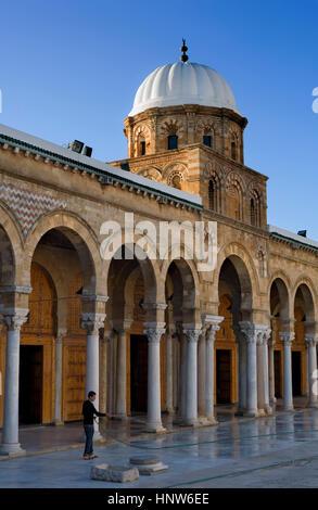 Tunisia: City of Tunis. Medina. Courtyard of Ez- Zitouna Mosque (Great Mosque) - Stock Photo