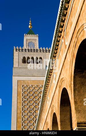 Tunisia: City of Tunis. Medina. Minaret of Ez- Zitouna Mosque (Great Mosque) - Stock Photo