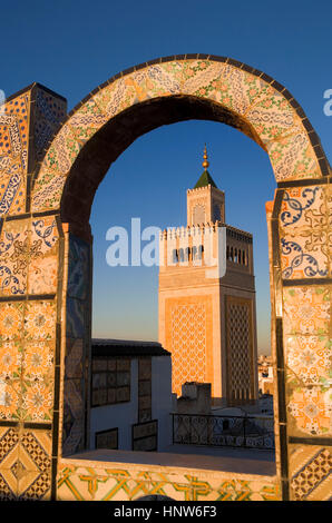 Tunisia: City of Tunis. Ez- Zitouna Mosque (Great Mosque) from a terrace of the medina - Stock Photo