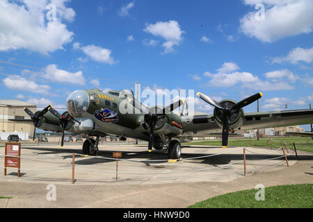 A Boeing B-17G Flying Fortress on display at The Barksdale Global Power Museum, on Barksdale AFB, Louisiana - Stock Photo